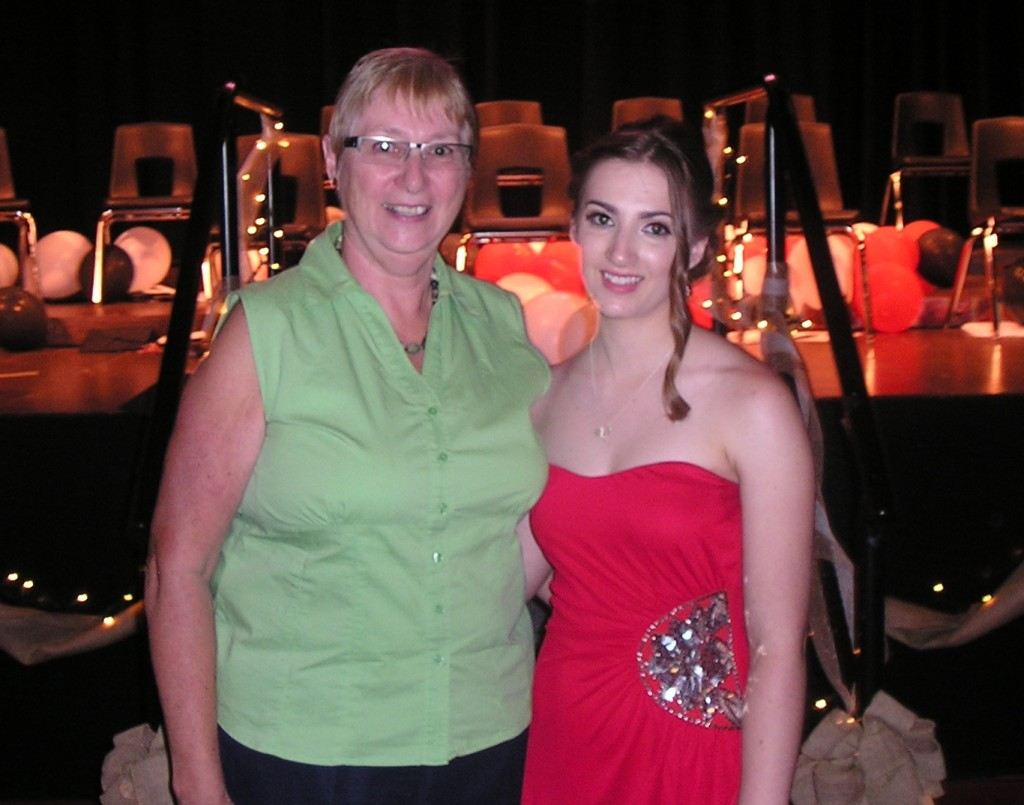 Emilie Shewchuk, recipient of the third Gladys Guthrie Memorial Scholarship and the Pinawa Foundation Community Scholarship, and Carol Findlay of the Pinawa Foundation